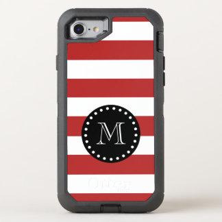 Coque OtterBox Defender iPhone 8/7 Motif blanc rouge de rayures, monogramme noir