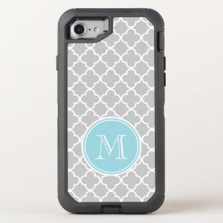 Coque OtterBox Defender iPhone 8/7 Motif gris de Quatrefoil, monogramme bleu