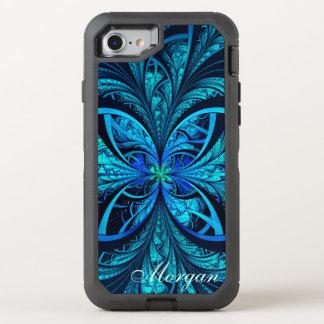 Coque OtterBox Defender iPhone 8/7 Nom abstrait moderne de fractale de vert bleu