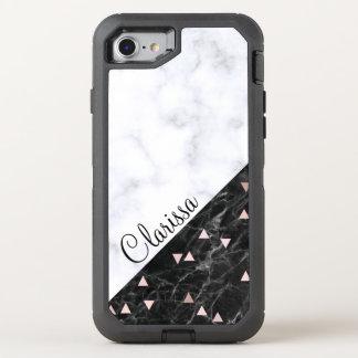Coque OtterBox Defender iPhone 8/7 or rose de marbre blanc noir élégant géométrique