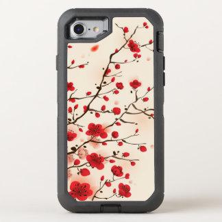 Coque OtterBox Defender iPhone 8/7 Peinture orientale de style, fleur de prune au