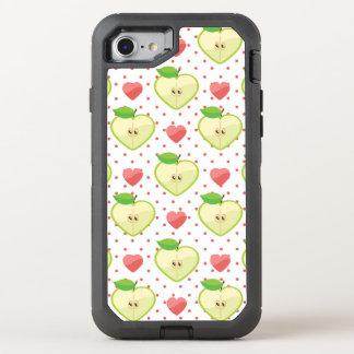 Coque OtterBox Defender iPhone 8/7 Pommes de coeur avec le pois et les coeurs roses