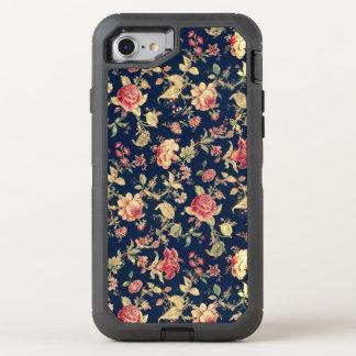 Coque OtterBox Defender iPhone 8/7 Rose vintage élégant de bleu floral