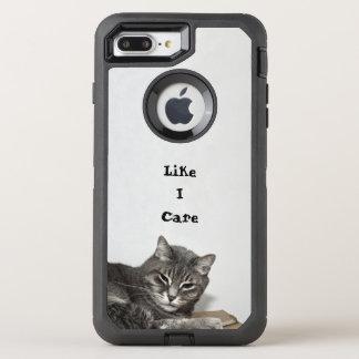 Coque OtterBox Defender iPhone 8 Plus/7 Plus Anniversaire drôle gris de chat tigré