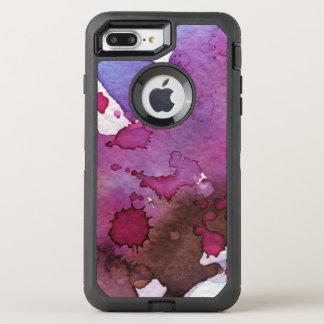 Coque OtterBox Defender iPhone 8 Plus/7 Plus Arrière - plan pourpre d'aquarelle