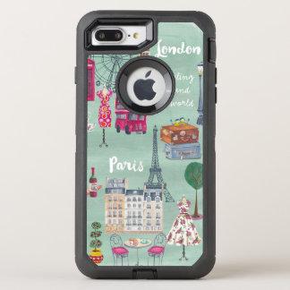 Coque OtterBox Defender iPhone 8 Plus/7 Plus Carte Londres Paris | Otterbox | Iphone de voyage