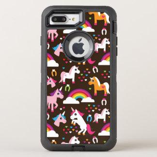 Coque OtterBox Defender iPhone 8 Plus/7 Plus l'arc-en-ciel de licorne badine le cheval