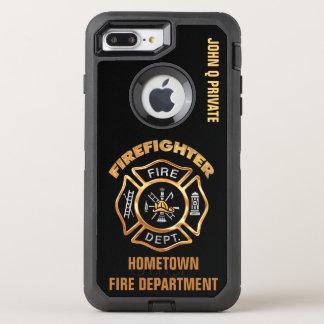 Coque OtterBox Defender iPhone 8 Plus/7 Plus Modèle de nom de sapeur-pompier d'or