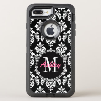 Coque OtterBox Defender iPhone 8 Plus/7 Plus Motif de damassé de Fleur de Lis Monogram