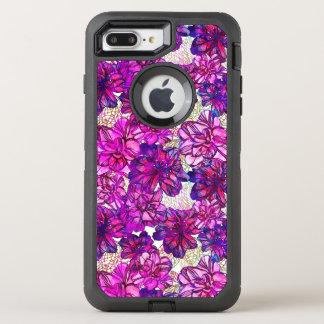 Coque OtterBox Defender iPhone 8 Plus/7 Plus Motif de fleurs abstrait de rose et de pourpre