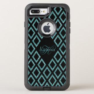 Coque OtterBox Defender iPhone 8 Plus/7 Plus Motif de noir de parties scintillantes d'Aqua avec