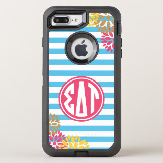 Coque OtterBox Defender iPhone 8 Plus/7 Plus Motif de rayure de monogramme de Tau   de delta de