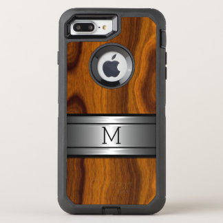 Coque OtterBox Defender iPhone 8 Plus/7 Plus Motif en bois à la mode moderne de grain en métal
