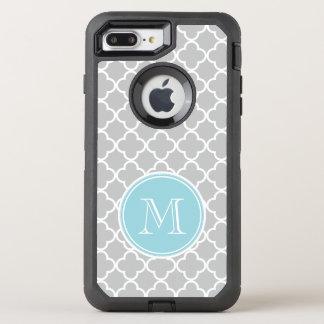 Coque OtterBox Defender iPhone 8 Plus/7 Plus Motif gris de Quatrefoil, monogramme bleu
