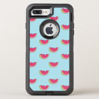 Coque OtterBox Defender iPhone 8 Plus/7 Plus Tranches de pastèque sur le motif turquoise