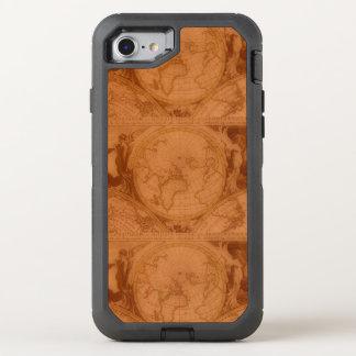 Coque Otterbox Defender Pour iPhone 7 Carte de Vieux Monde rouge-brun en cuir bronzée