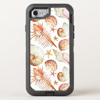 Coque Otterbox Defender Pour iPhone 7 Corail avec les coquilles et le motif de crabes