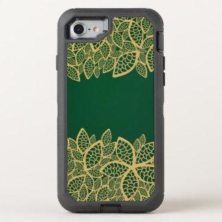 Coque Otterbox Defender Pour iPhone 7 Dentelle d'or de feuille sur l'arrière - plan vert