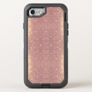 Coque Otterbox Defender Pour iPhone 7 Étincelle rose de l'espace de Faux de galaxie d'or
