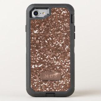 Coque Otterbox Defender Pour iPhone 7 Étincelle rose de monogramme d'OtterBox d'or de