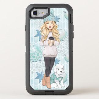 Coque Otterbox Defender Pour iPhone 7 Fille blonde avec le chiot blanc