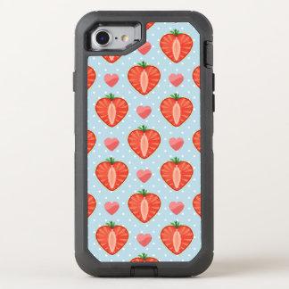 Coque Otterbox Defender Pour iPhone 7 Fraises de coeur avec le pois et les coeurs
