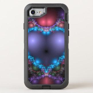 Coque Otterbox Defender Pour iPhone 7 La chaleur bleue abstraite avec la frange au néon