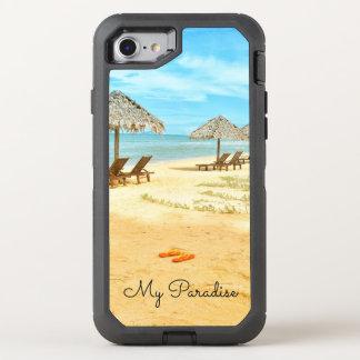Coque Otterbox Defender Pour iPhone 7 L'eau bleue de scène tropicale de plage