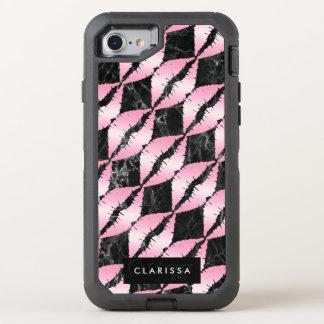 Coque Otterbox Defender Pour iPhone 7 les lèvres roses girly élégantes d'or modèlent le