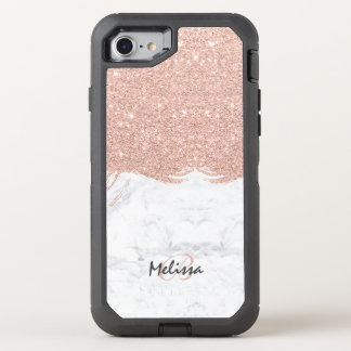 Coque Otterbox Defender Pour iPhone 7 Marbre rose de traçage d'or de scintillement de