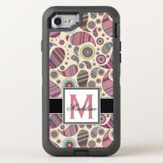 Coque Otterbox Defender Pour iPhone 7 Monogramme de Paisley, mobile
