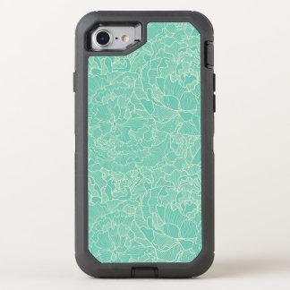 Coque Otterbox Defender Pour iPhone 7 Motif de pivoine de turquoise
