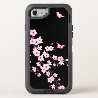 Coque Otterbox Defender Pour iPhone 7 Noir floral de rose de fleurs de cerisier