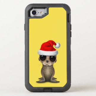 Coque Otterbox Defender Pour iPhone 7 Otarie de bébé utilisant un casquette de Père Noël
