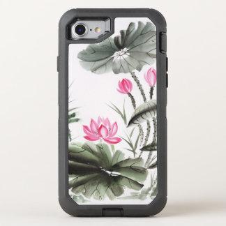 Coque Otterbox Defender Pour iPhone 7 Peinture d'aquarelle de la fleur de Lotus 2