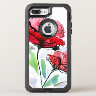 Coque Otterbox Defender Pour iPhone 7 Plus Arrière - plan floral peint par résumé