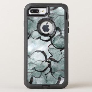 Coque Otterbox Defender Pour iPhone 7 Plus avant-garde d'art grise, peinture de main noire