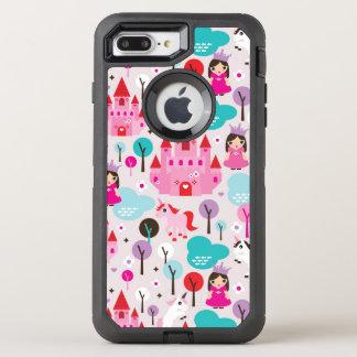 Coque Otterbox Defender Pour iPhone 7 Plus château et licorne de princesse d'enfants