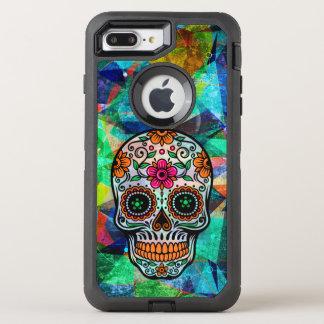 Coque Otterbox Defender Pour iPhone 7 Plus Crâne floral 2 de sucre d'arrière - plan