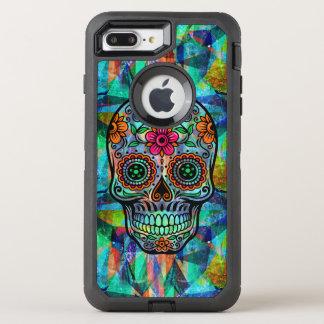 Coque Otterbox Defender Pour iPhone 7 Plus Crâne floral de sucre d'arrière - plan géométrique