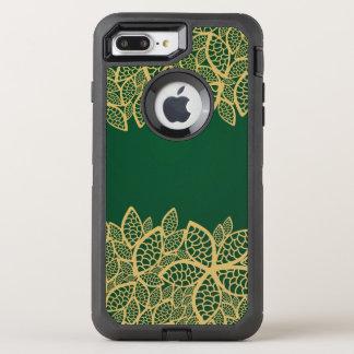 Coque Otterbox Defender Pour iPhone 7 Plus Dentelle d'or de feuille sur l'arrière - plan vert