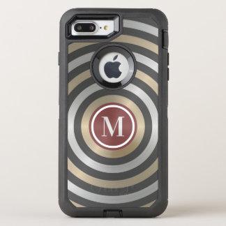 Coque Otterbox Defender Pour iPhone 7 Plus Monogramme frais de motif de rayure d'or d'argent