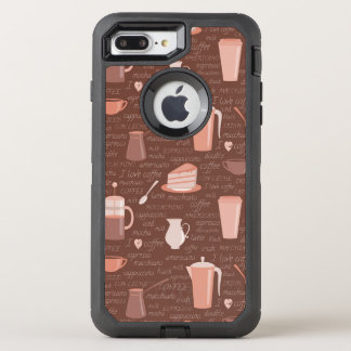 Coque Otterbox Defender Pour iPhone 7 Plus Motif avec les éléments relatifs de café
