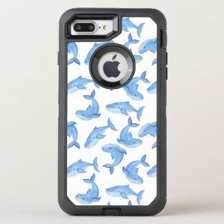 Coque Otterbox Defender Pour iPhone 7 Plus Motif de baleine bleue d'aquarelle