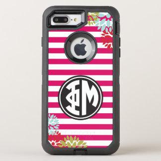 Coque Otterbox Defender Pour iPhone 7 Plus Motif de rayure de monogramme de la MU | de phi