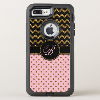 Coque Otterbox Defender Pour iPhone 7 Plus Noir rose chic Chevron de parties scintillantes