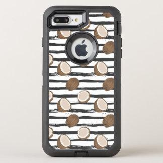 Coque Otterbox Defender Pour iPhone 7 Plus Noix de coco sur le motif grunge de rayures