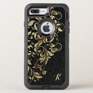 Coque Otterbox Defender Pour iPhone 7 Plus Or noir décoré d'un monogramme et dentelle florale