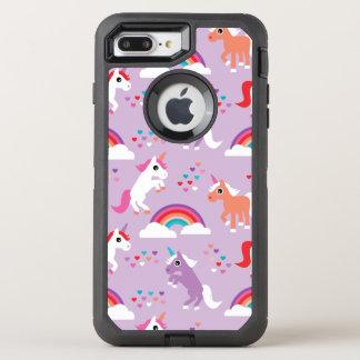 Coque Otterbox Defender Pour iPhone 7 Plus Pourpre mignon d'arc-en-ciel de licorne