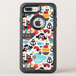 Coque Otterbox Defender Pour iPhone 7 Plus Rétro navigation d'illustration de pirates